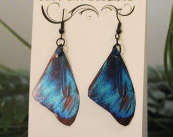 Hand Made Deep Aqua Blue Morpho Faux ღ Butterfly Wing Earrings