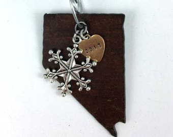 NEVADA   Rustic 2017 Rustic Christmas Ornament   Las Vegas Dice, Cowboy Boot or Hat Charms, Hand Stamped Brass Tag