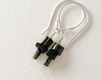 tourmaline earrings. sterling silver earrings. handmade earrings