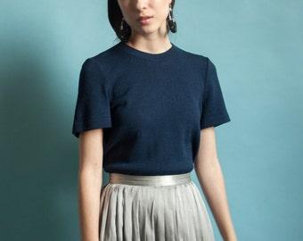 ST JOHN navy blue knit tee / short sleeve knit sweater / wool knit top / s / 1866t / B21