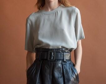 light gray silk short sleeve tee / silk boxy blouse / minimalist t shirt / s / m / 2116t / B18