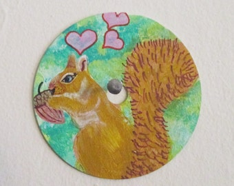 Squirrel Loves Nut painting - art on recycled CD, wall art