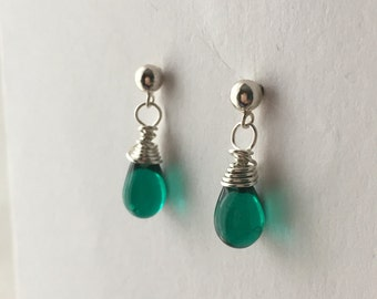Teal Earrings. Small Teal Bead Earrings. Teardrop Earrings. Sterling Silver Briolette Earrings. Wire Wrapped Earrings. UK Shop