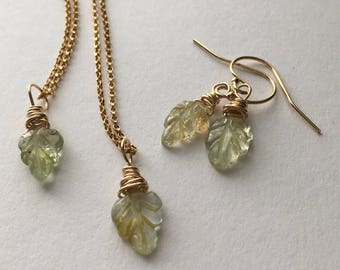 Beryl Leafs Gold Filled Jewellery Set. Yellow Golden Beryl Leaf Carved Briolettes 14k Gold Filled Necklace, Bracelet And Earrings Set. UK