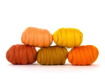 ON SALE Fresh Orange Merino Variety Pack - 5 Colors - 50 grams per color = 250 Grams or 8.8 oz total to Spin, Felt, Create Fiber Art