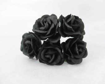 5 pcs - 35mm mulberry paper black rose with wire stem - round