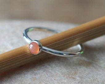 Peach Moonstone Stacking Ring 4 mm in Sterling Silver, Size 2 to 15, June Birthstone Ring, Womens Jewelry, Gifts for Her, Minimal Stack Ring