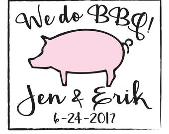 We do BBQ wet naps personalized for outdoor wedding