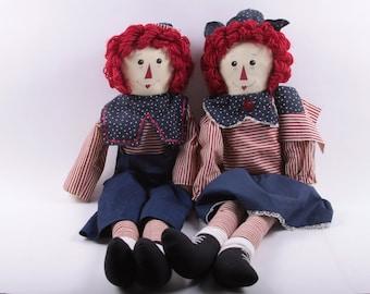 Folk Art, Country, Hand Made, Large Raggedy Ann, Raggedy Andy, Rag Dolls, Americana, Yarn Hair, Folk ~ The Pink Room ~ 170117