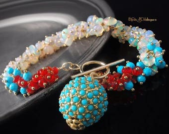 ON SALE - Ethiopian Opal, Turquoise, and Mexican Fire Opal Ombre Charm Bracelet