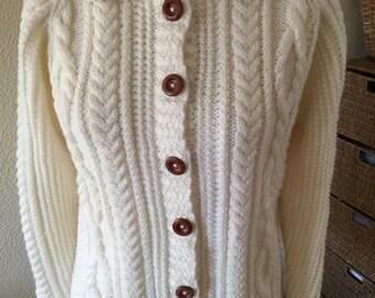 Knit Aran Ladies Sweater/ Aran Jacket/ Handknit Aran Cardigan- Ready to Ship - Reduced