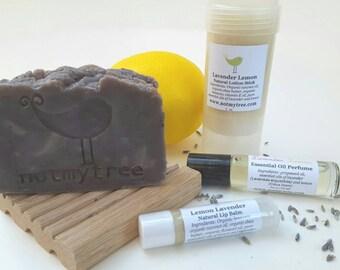 Soap Gift Set, Lightly Scented, Lavender Lemon, Lip Balm, Perfume, Soap Dish, All Natural Vegan Soap, Essential Oil Soap, Gift for Her