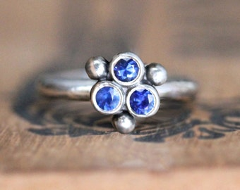 Three stone ring, recycled silver sapphire ring, modern sapphire ring, anniversary gift, september birthstone, Triumph ready to ship