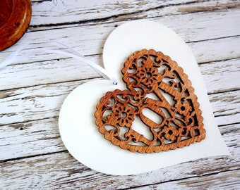 5th anniversary gift. Romantic laser cut double love heart ornament, natural wood & white wedding gift /decoration