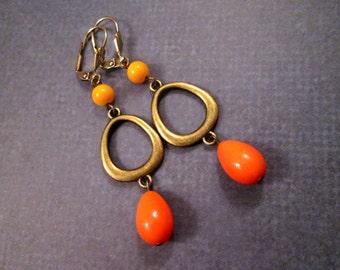 Orange Glass Drop Earrings, Mod Loops, Long Brass Dangle Earrings, FREE Shipping U.S.