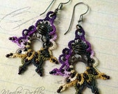 Lace earrings steampunk gear tatting with niobium earwires