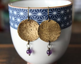 harmony {amethyst + brass hammered earrings}