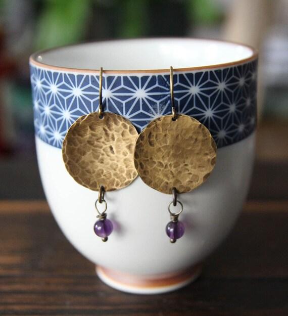 harmony {amethyst + brass hammered earrings}