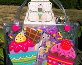 Cupake N Sprinkles Gelly Bag for Girls, Purse, Clear, Gel Filled, Gift, Holiday Gift, Birthday Party, Christmas, Tweens Gift, Gifts