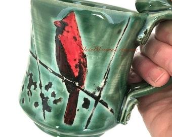 Ceramic Mug Cardinal Bird Handmade Handpainted On Dark Green 12 Ounces MG0065 Made to Order