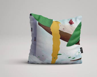 Rapunzel - Illustrated throw pillow cover