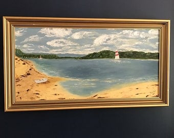 Vintage seascape beach painting by Russ of pink and white striped sail boat on Lake Conjola NSW