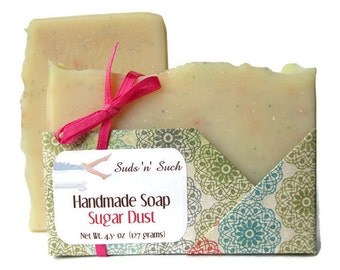 Sugar Dust Soap - Vanilla Soap - Handmade Olive Oil Soap - Phthalate Free - Pink Sugar Dupe - Exfoliating Jojoba Beads - Cotton Candy Scent