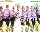ON SALE Set of 10 Bridesmaid Shirts - Bride and Bridesmaid Shirts - Button Down Shirt - Bridesmaid Shirt Set