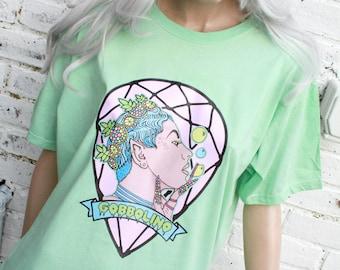 Fairy Queen Kawaii Indie Pastelgoth  Mint Acid Wash Tie Dye T-Shirt L