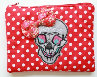 Red Spotty Retro Skull Bow Makeup Bag Vanity Gobbolino