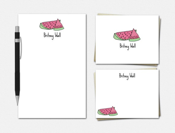 Personalized Watermelon Stationery Set, Watermelon Notepad, Watermelon Note Cards, Watermelon Stationery