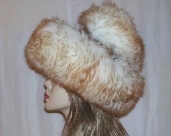 Fur Hat Shearling Apris Ski Big Puffy Russian Shearling Wool Leather Vintage Men-M Women-L Adult Ren Faire Snow Bunny Ski Brown White Fur