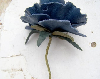 Leather Flower 3rd Wedding Anniversary Gift Midnight Blue