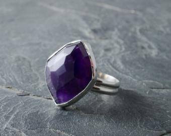 Rose Cut Amethyst Ring. February Birthstone. Size 7 Ring. Amethyst Ring. Cabochon Silver Ring. Statement Gemstone Ring. Birthstone Jewelry