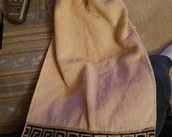 Brown crocheted top hand towel