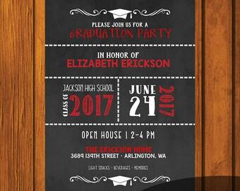 Graduation Party Invitation / Chalkboard Graduation Party Invitation / Open House Invitation / High school / College / Party Invitation