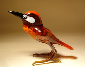 Handmade  Blown Glass Figurine  Art Bird WOODPECKER
