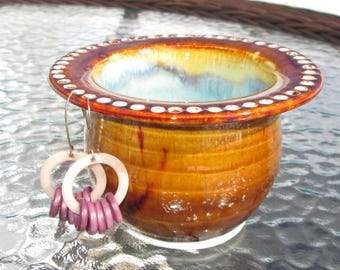 Handthrown Earring Bowl - Jewelry Holder in Amber and Turquoise Green
