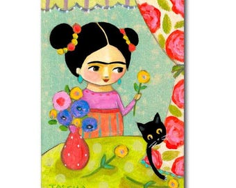 Frida Kahlo Flower Arrangement ORIGINAL painting black cat folk art cute acrylic painting on canvas by artist Tascha