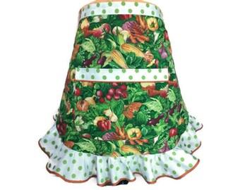 Vegetable Apron with Ruffle and pocket , Half Apron / Server Apron , Polka Dot trim , Vegetable Garden / Vegan / Vegetarian , Chef / Cook