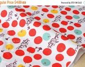 Japanese Fabric Wonderland Rabbit - red, yellow, aqua blue - 50cm