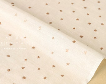 Japanese Fabric silk blend metallic stars - natural, gold - 50cm