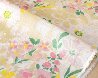 Japanese Fabric painted floral linen voile - cream, pink, yellow, green - 50cm