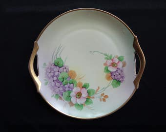 "Vintage Z.S. & G. Bavaria Porcelain Floral and Gold Cake Plate with Handles 11"" Diameter"