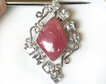 Sale: Pink Rhodochrosite and Sterling Silver Pendant