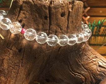 Faceted Crystal and Ruby Stretch Bracelet