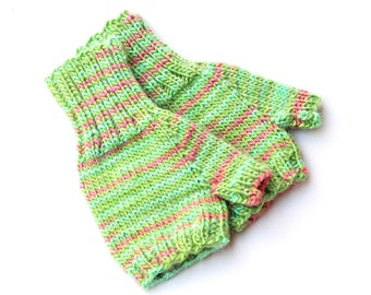 Toddler Girl Green Fingerless Gloves. Hand Warmers. Knit Mittens Without Fingers. 12 to 18 Months. Kids Fingerless Mittens. Toddler Gift
