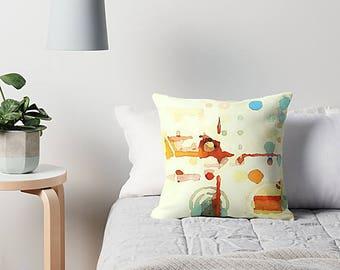 Abstract Watercolor, Pillow Cover, Watercolor Pillow, Abstract Art Pillow, Orange Peach Aqua, Throw Pillow, Art Pillow Cover, Pastel Pillow