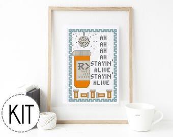 Beginner Cross Stitch Kit Stayin' Alive - Embroidery Kit Embroidery DIY Modern Cross Stitch Funny Cross Stitch Subversive Disco