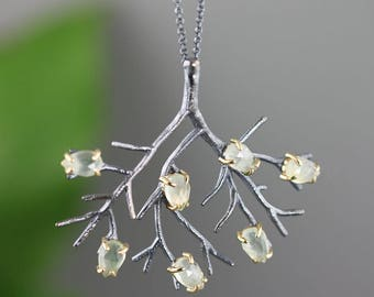 Sterling Silver Tree Pendant with 14k Gold and Rose Cut Green Prehnite Pear Stones - Mixed Metal Art Jewelry Branch Necklace - Made to Order
